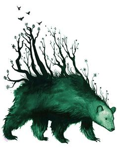 """by Jenni Saarenkyla - """"I got the idea for this illustration from the old stories about the bear in Finnish folklore. In the olden days the bear was the most sacred animal and some even believed that when the bear moved the forest moved with it"""". Art And Illustration, Illustrations Posters, Art Design, Folklore, Dark Art, Amazing Art, Awesome, Illustrators, Fantasy Art"""