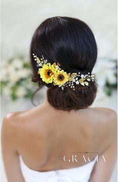 HYPATIA Yellow Sunflower Bridal Headpiece Fall Wedding Flower Crown Autumn Halo by TopGracia