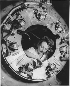 Part of the cowling for one of the motors for a B-25 bomber is assembled 1942