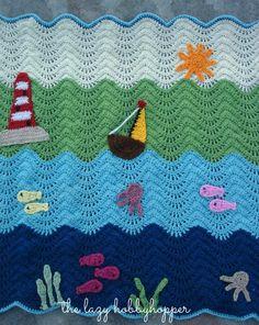 The Lazy Hobbyhopper: Waterworld ripple baby blanket