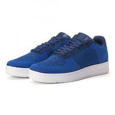 Ανδρικά μπλε sneakers από πλεκτό ύφασμα it020618-11   Fashionmix.gr Air Force Sneakers, Nike Air Force, High Top Sneakers, Sneakers Nike, High Tops, Shoes, Fashion, Tennis, Nike Tennis
