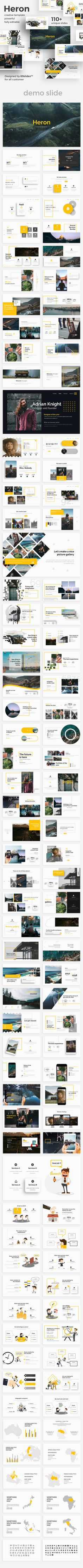 Heron Creative Google Slide Template #annual report #university • Download ➝ https://graphicriver.net/item/heron-creative-google-slide-template/21249366?ref=pxcr