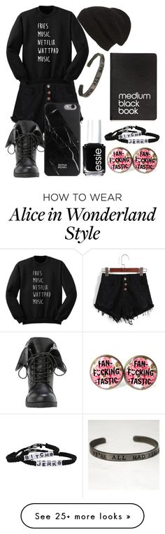 """Me as an outfit part 1"" by fashiongirlxcx on Polyvore featuring Native Union, Phase 3, Essie, Dinks, Dark, emo, grunge and phone"