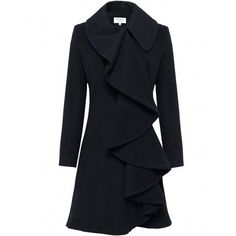 Women's Helene Berman Ruffle Front Coat ($315) ❤ liked on Polyvore featuring outerwear, coats, jackets, coats & jackets, black, wool coat, black coat, woolen coat, ruffle coat and oversized collar wool coat