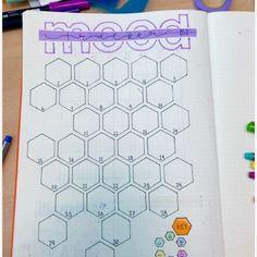 @bujojuan: october hexagon themed mood tracker