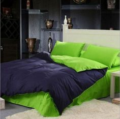 Brilliant Green and Black Assort Color 4 Pieces Cotton Bedding Sets