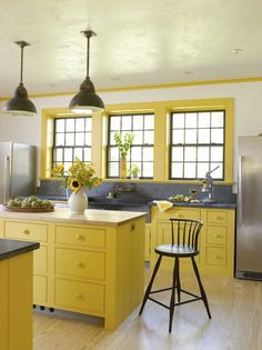 Industrial Lighting and Yellow Cottage Kitchen