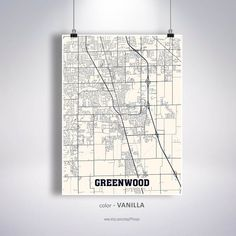 Greenwood Map Print, Greenwood City Map, Indiana IN USA Map Poster, Greenwood Wall Art, City Street