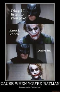 Joker movie memes start getting attention with time. We post the most viral collection of Joker movie memes. Let's start to see all the Joker movie memes. Memes Batman, Joker Meme, Funny Batman Quotes, Knock Knock Witze, Der Joker, Nananana Batman, Funny Jokes, Hilarious, Funny Comedy