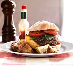 Recipes - Homemade Burgers with Chunky Wedges - Homemade Burgers with Chunky We. - Recipes – Homemade Burgers with Chunky Wedges – Homemade Burgers with Chunky Wedges – - Aga Recipes, Beef Recipes, Cooking Recipes, Best Homemade Burgers, Homemade Hamburgers, New York Burger, Hamburger And Potatoes, Healthy Burger Recipes, Food For Thought