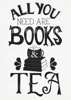 All You Need Are Books and Tea Hand Lettering by AbbieImagine