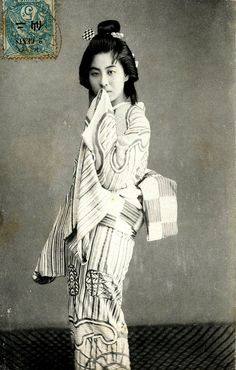 Tokyo Geisha 1908    A Japanese postcard posted from Peking (Beijing), China to France in 1908. I love her Kimono and the elegant way that her Obi is tied.