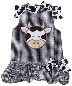 Mud Pie Baby Eieio Black and White Gingham Bubble Dress, Cow, 12 18 Months Cute Baby Girl Outfits, Cute Outfits For Kids, Toddler Outfits, Mud Pie Baby, Everything Baby, Baby Kids Clothes, Bikini, Future Baby, Future Daughter