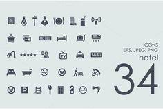 34 hotel icons by Palau on Creative Market