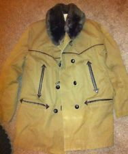 Vtg 40s WW2 French canvas sheepskin barnstormer mackinaw work chore coat jacket