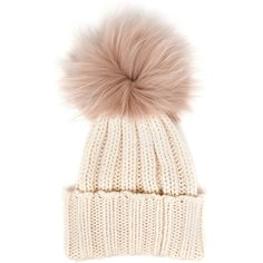 Inverni Cashmere and Fur Beanie (€210) ❤ liked on Polyvore featuring accessories, hats, beanie, white, white beanie, fur hat, white hat, pom pom hat and fur pom-pom hats
