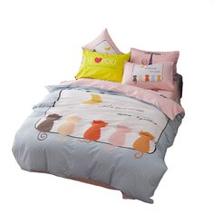 Grey quilt cover/pink bed sheet/bedding pillowcase,4pcs polyester/cotton duvet cover set,queen twin full cat printed bedding set