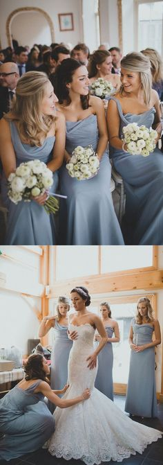 2016 wedding dresses, one shoulder bridesmaid dress, wedding party dress, long…