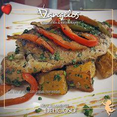 Ven a degustar el Lau Lau al ajillo con papas horneadas te va encantar Y buen apetito!   #SencillamenteDelicioso  #Guayana  #puertoordaz  #gastronomía  #gourmet  #cafe  #desayuno  #almuerzo  #cena  #fish #instafood  #amor  #love @dangeloscafe