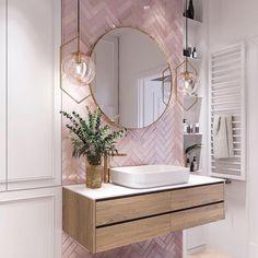 Pink Bathroom Tiles, Pink Tiles, Diy Bathroom Decor, Bathroom Renos, White Tiles, Bathroom Interior Design, Bathroom Organization, Remodel Bathroom, Mirror Bathroom