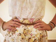 Lace top. Floral skirt.