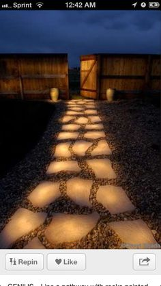 "Love this idea!!! Light a pathway with rocks painted with glow in the dark paint. During the day they ""charge"" in the sun, in the evening they glow. Rust-Oleum Glow in the Dark Brush-On Paint."
