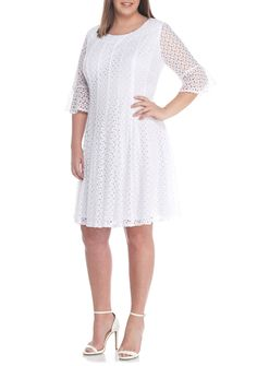 7d085730c56e Chris McLaughlin Plus Size Lace Bell Sleeve Fit-And-Flare Dress
