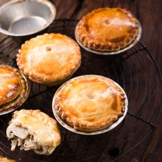 Pop these creamy chicken and mushroom pies into the oven as a welcoming warm snack when guests come over. Cooking Chicken To Shred, How To Cook Chicken, Cooked Chicken, Recipes With Condensed Soup, Chicken And Mushroom Pie, Mushroom Soup, Creamed Mushrooms, Stuffed Mushrooms, Pie Recipes