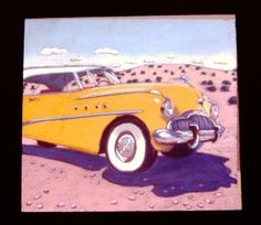 """'49 Buick Roadmaster Riviera"""" Pastel on paper, 13"""" x 14"""" 1989 (Sold)  #PollyJackson is an artist from #Albuquerque, New Mexico, USA, whose #paintings I admire.  Would you love to own one of her paintings that I have pinned? Contact her at: Email: artistpolly@gmail.com      Website:  http://www.pollyjackson.com  http://facebook.com/artistpolly #49BuickRoadmasterRiviera"""