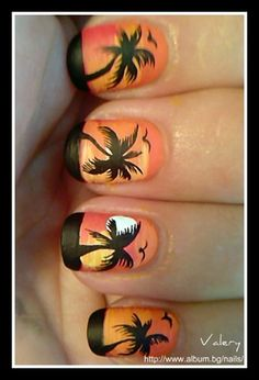 Palm tree by valera Nail Art Gallery nailartgallery.na by Nails Magazine ww Palm tree by valera Nail Great Nails, Fabulous Nails, Love Nails, Fun Nails, Hawaiian Nails, Palm Tree Nail Art, Vacation Nails, Beach Nails, Beautiful Nail Designs