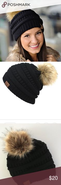 NEW CC Beanie w/ Faux Fur Pom Pom - Black New without tag. Warm and cozy beanie.  PRODUCT DESCRIPTION: Cable and ribbed knits lend trend-right texture to your look, and a pom-pom topper exudes wintry whimsy.  19'' circumference Pom-pom: 6'' circumference Acrylic / faux fur Machine wash C.C. Accessories Hats