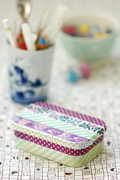 Washi Tape tin box made from mint tin & decorated Washi Tape Cards, Washi Tape Diy, Masking Tape, Washi Tapes, Mt Tape, Duck Tape, Tape Crafts, Crafts To Make, Diy Crafts