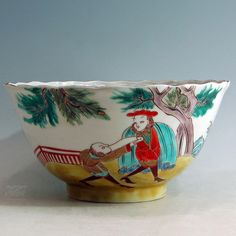 Large Bowl with Namban-jin motive - 1770-1800 - Private collection. H. 11 cm, D. 21 cm.