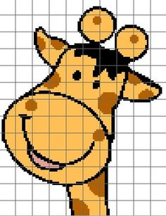 Giraffe Face Crochet Chart/Graph Pattern