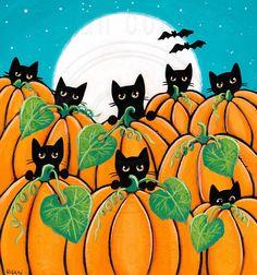 Black Cats in a Pumpkin Patch Original Halloween Cat Folk Art © Ryan Conners