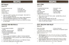 Crock Pot Pot Roast, Sausage and Meatballs, Beef Stew, & Easy Healthy Fish Fillet