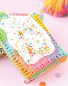 Unicorn desserts for a unicorn party: Rainbow Marbled Pop Tart Recipe Rainbow Desserts, Rainbow Treats, Rainbow Food, Cute Desserts, Rainbow Baking, Pop Tarts, Tart Recipes, Dessert Recipes, Cooking Recipes