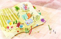 Hay tantas aventuras entre las páginas de los libros!!! (ilustración de Mi Hwa Sun)