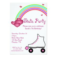 Roller Skate Birthday Invitations Rainbow Roller Skate Birthday Invitation