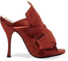 f55ce6b20e No. 21 - Knotted Satin Mules - Brick Women's Mules & Clogs, Mules Shoes