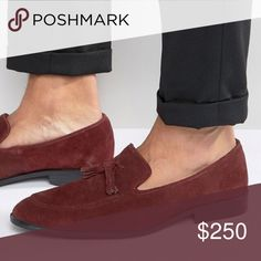 NIB Suede Tassel Loafers Burgundy Suede leather slip ons with tassels and an apron toe stitching.  Slim European toe shape in a beautiful burgundy color that goes with literally everything (black, brown, blue and grey) Protect it with a Suede waterproof spray! ASOS Shoes Loafers & Slip-Ons