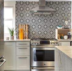 Cement tiles backsplash