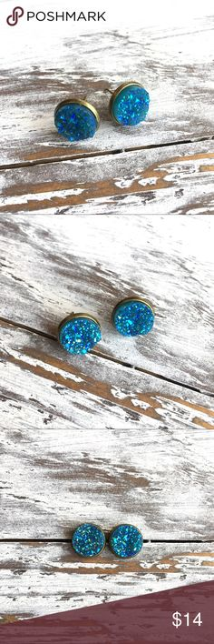Faux druzy earrings gold stud Faux druzy cabochon stud earrings on a gold stud.                                                    🖐🏼All earrings are handmade🖐🏼                                                                                          🌺All reasonable offers are welcomed🌺 Cabochon color is sea blue                  ‼️‼️NOT ZARA NAME BRAND, I DO IT FOR EXPOSURE‼️‼️.                          Nickel and lead free. Measures 12mm in diameter.  Earrings may differ in color…
