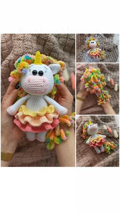 Knitting Dolls Free Patterns, Knitted Dolls Free, Crochet Patterns Amigurumi, Cute Crochet, Crochet Baby, Crochet Unicorn Pattern, Knitted Animals, Crochet Videos, Animal Crafts