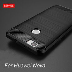 LEPHEE Huawei Nova Case Cover Silicone Soft TPU Brushed Carbon Fiber Texture Phone Case for Huawei Nova Luxury 5.0 Inch