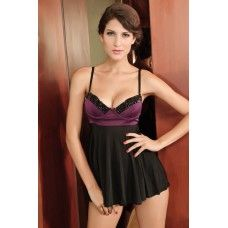 Microfibre Babydoll with Fishnet Over Lycra | Sensuous Sexy Nightwear | Surprise him | Buy sexy nightwear online on sexpiration.com