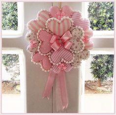Art Ideas by Dezdemon Valentine Wreath, Valentine Decorations, Valentine Crafts, Christmas Crafts, Christmas Decorations, Valentines, Fabric Hearts, Fabric Flowers, Pink Fabric