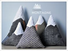Mountain pillows, for japanese nursery, Fuji, Himeji, etc. Baby Decor, Kids Decor, Mountain Designs, Mountain Decor, Diy Pillows, Craft Sale, Sewing Projects, Arts And Crafts, Crafty