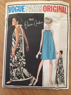 Vintage 1960s Vogue 1847 Paris Origina Pierre Cardin evening dress - size 10