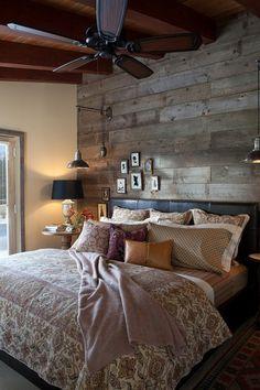 wooden panels in bedroom